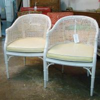 #3765 Pair Yellow Vinyl Bamboo Chairs $650 via again and ...
