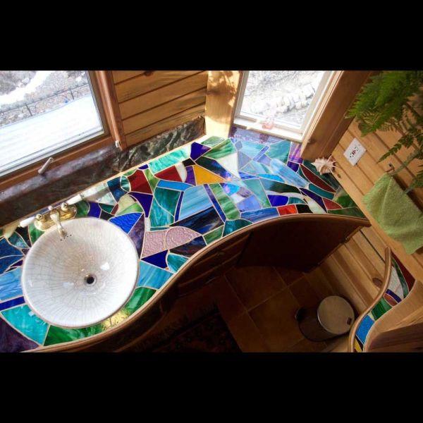 Glass Mosaic Bathroom Counter