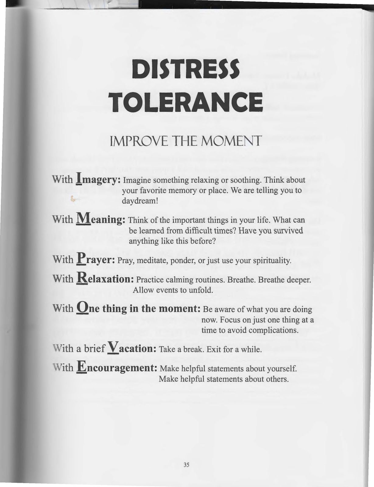 The Art Of Dialectical Behavior Therapy Distress Tolerance Prove The Moment