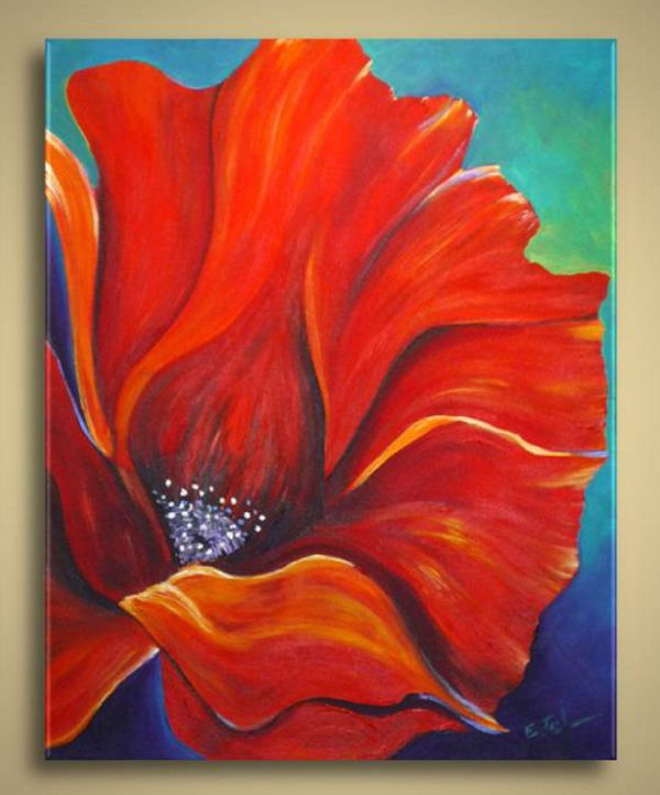 Poppy Flower Painting Abstract