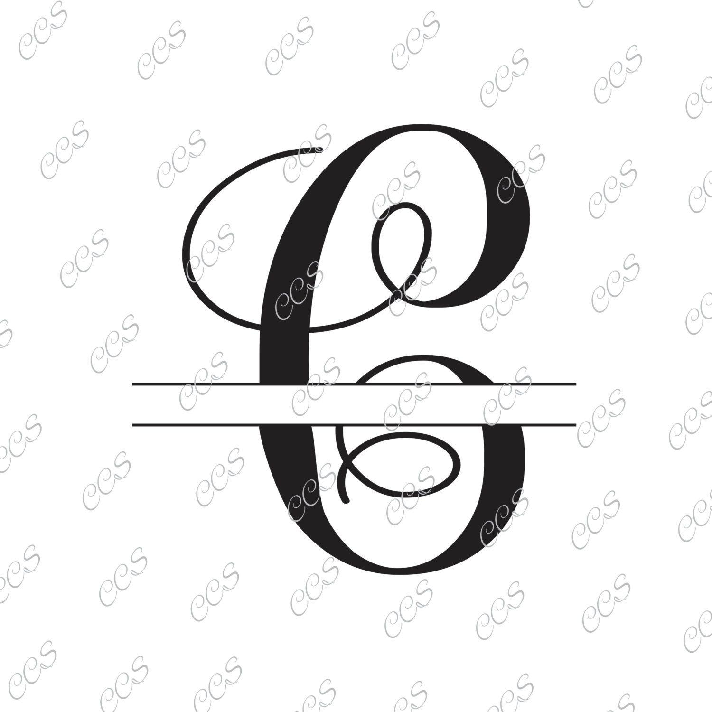Digital Cut File Split Vine Letters