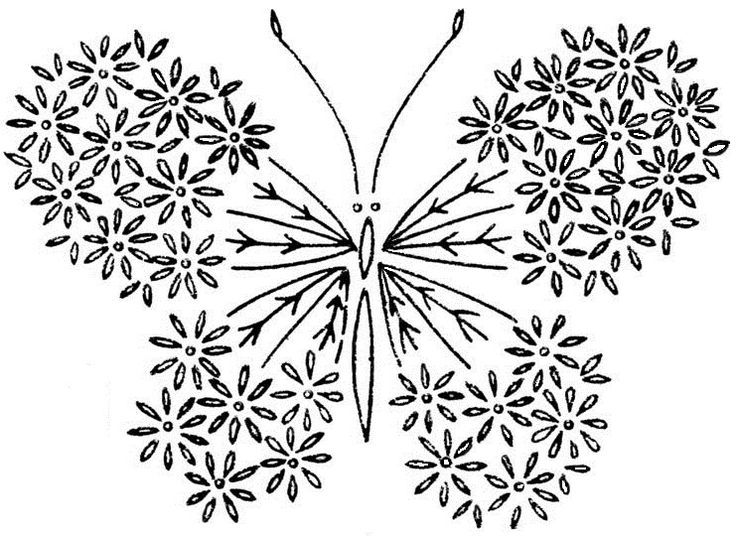 Butterfly from satin stitch,french knot stitch,lazy dasy