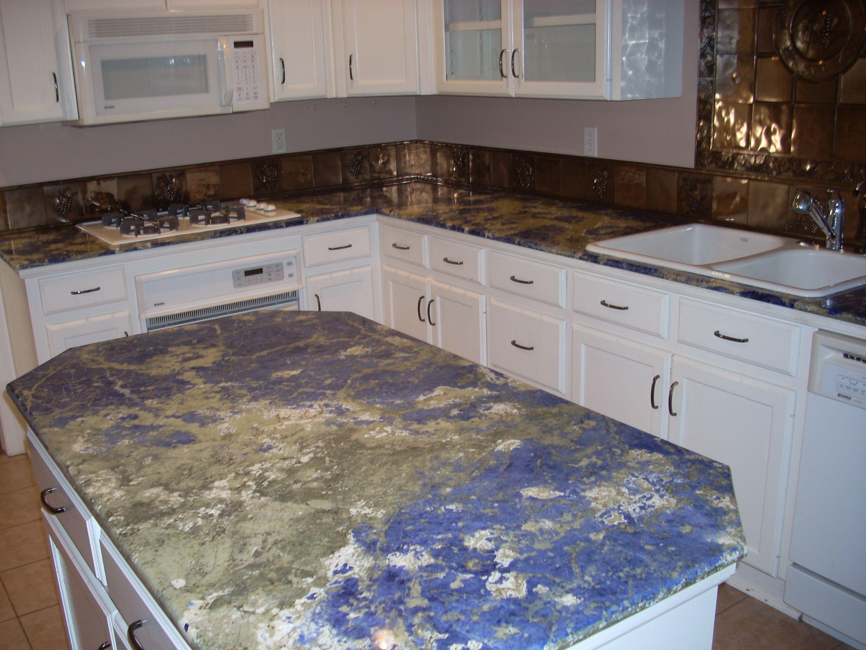 blue kitchen countertops cheap island ideas sodalite granite amazing texture