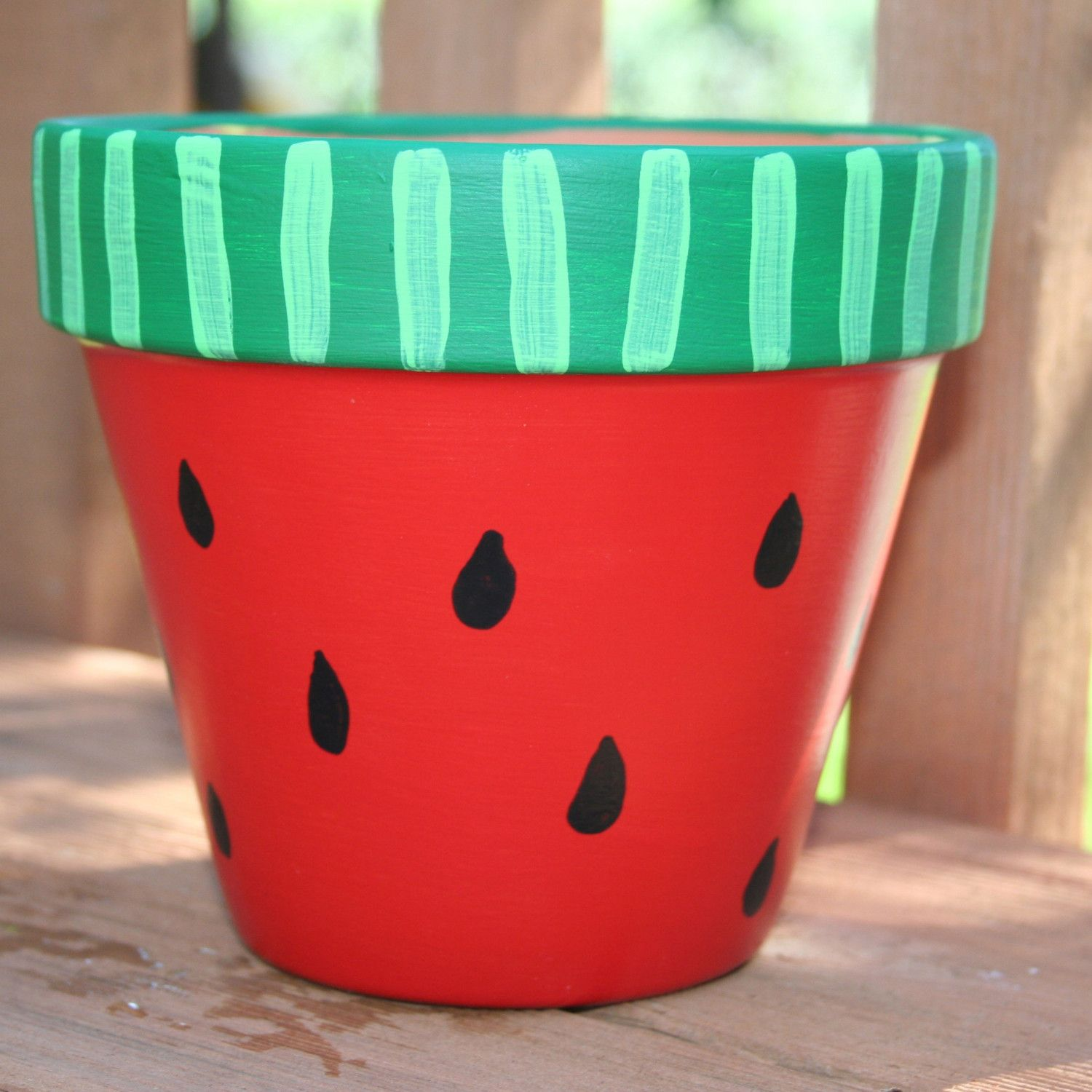 Hand Painted Flower Pots Watermelon 6 Inch Hand Painted Flower
