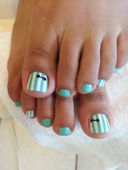 gel pedicure with bow design. http brilliantnailsandspa
