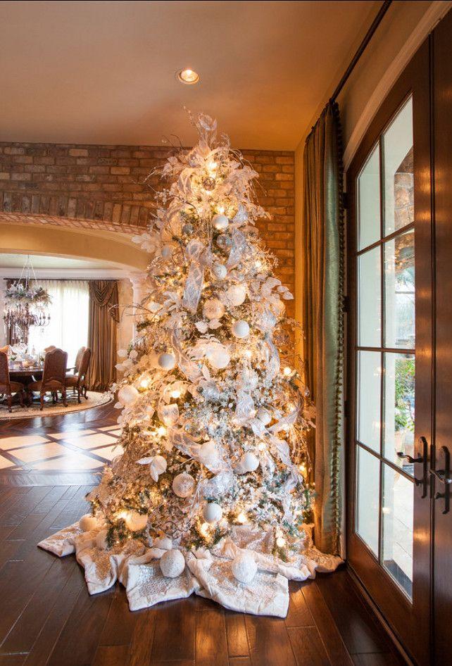 Nice White Christmas Tree I Love The Brick Wall Behind It