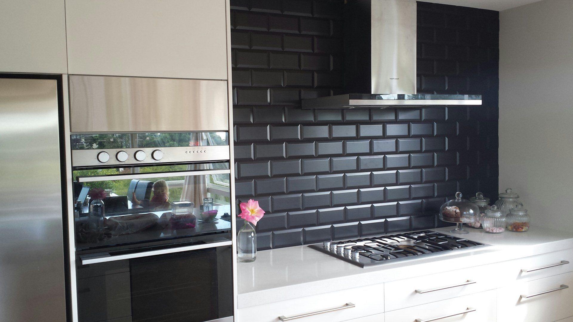 Image Of Black Subway Tile Kitchen Backsplash  Home