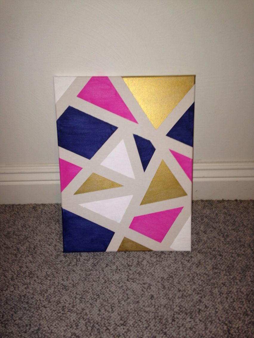 DIY canvas art Apply painters tape randomly around a canvas and paint every section a different