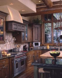 Log Home Kitchens Ideas Cabin
