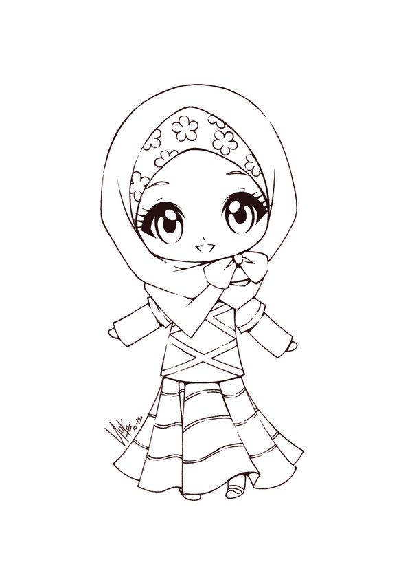 A chibi in hijab. I love how it's a mixt of cultures. by