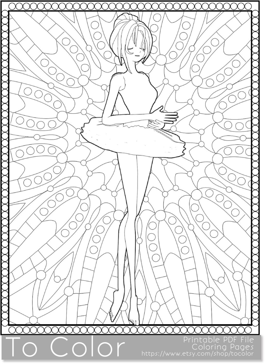 Ballet Printable Coloring Pages For Adults Ballet Girl Tutu Pdf