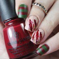 Freddy Krueger special effects nail art -- Halloween nail ...