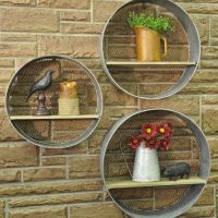 Round Metal Walls Shelves, S/3