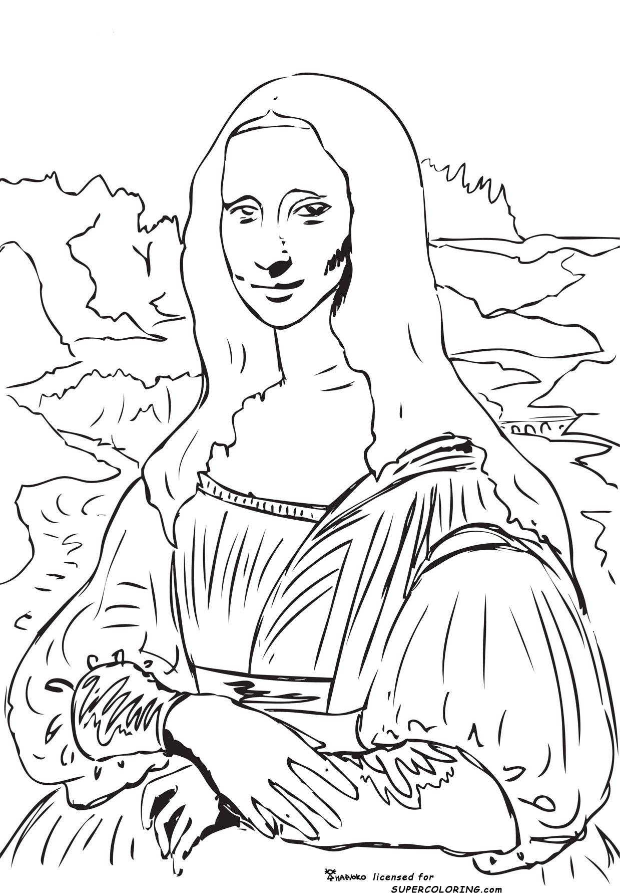 Ook Als Online Kleurplaat Percoloring Wp Content Original 10 Mona Lisa La