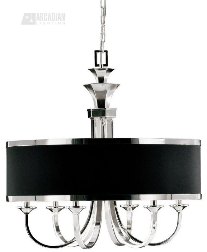 Black Transitional Chandelier With Nickel Drum Shade 822