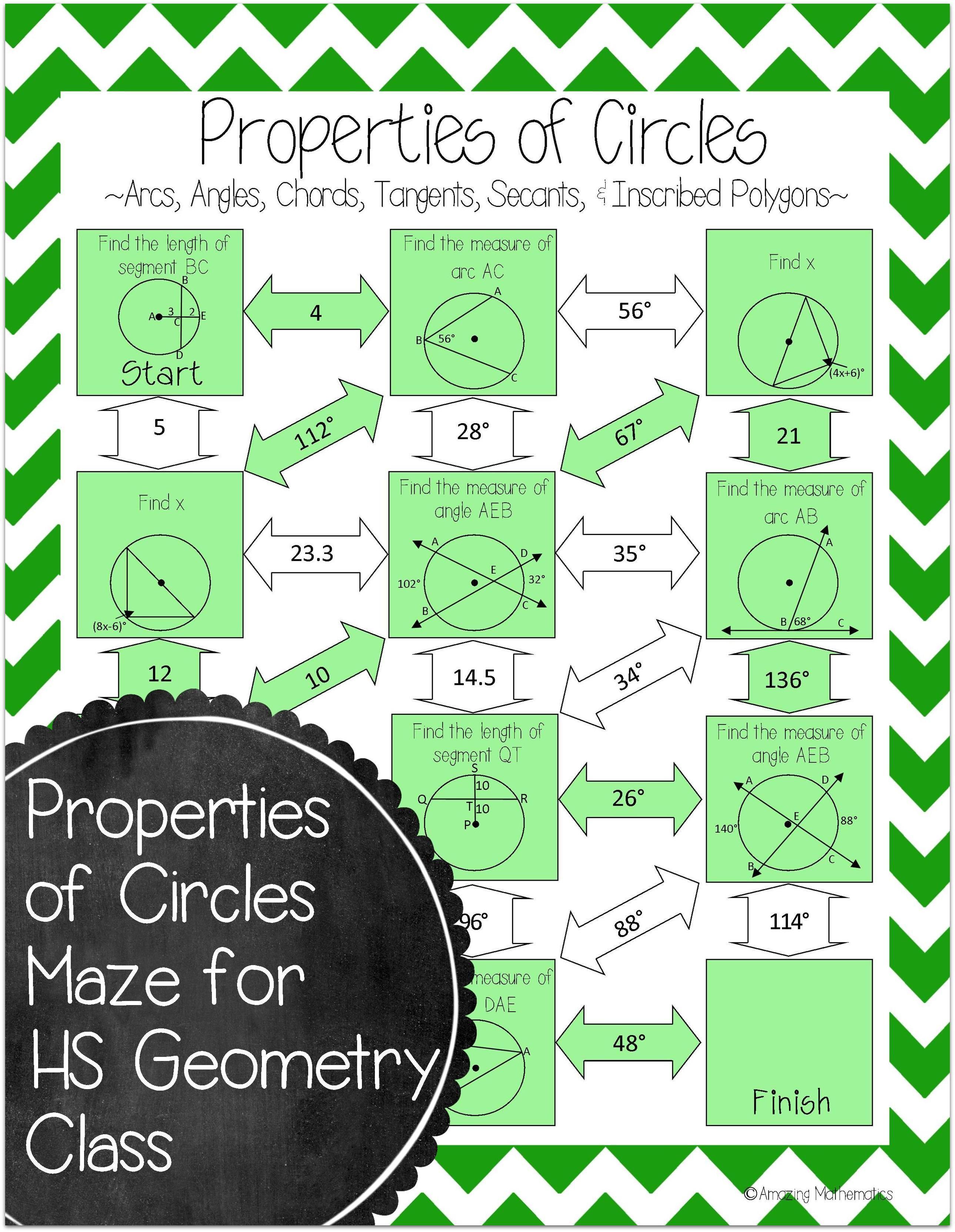 Properties Of Circles Maze Arcs Tangents Secants