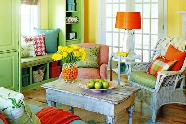 Decoration rustic living room decor with triad yellow green red blue ideas decorated wooden flooring and traditional furniture design by elagg also pow pinterest rh