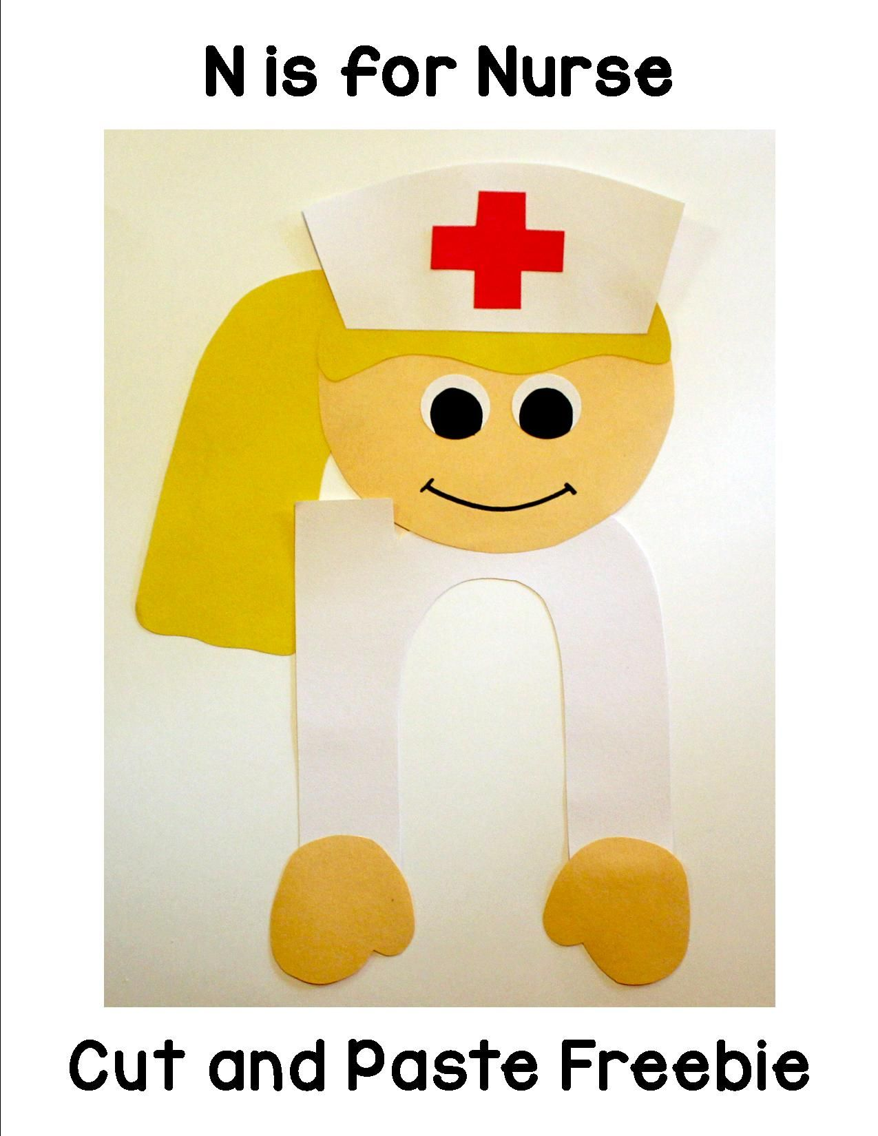 N Is For Nurse Cut And Paste Freebie That Includes Patterns And Directions