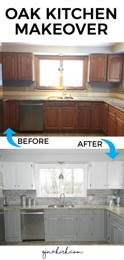 Fixer Upper Inspired Design E Oak Kitchen Cabinet Makeover Two Toned Gray And White