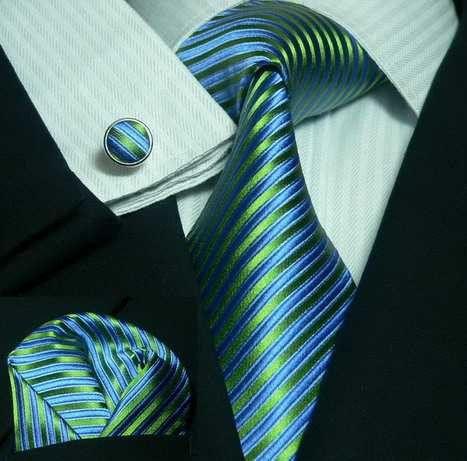 Peacock Blue and Green Stripe Wedding Tie Set JPM44C