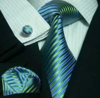Peacock Blue and Green Stripe Wedding Tie Set JPM44C ...