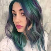 purple and green hair color design