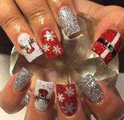santa belt sparkle silver nail