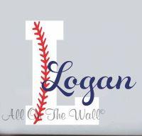 Baseball Wall Decal Boy Name Initial Monogram Sports Wall ...