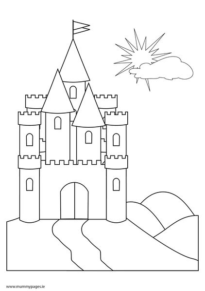 Fairy Tale Castle Coloring Page Fairytale castle on a hill
