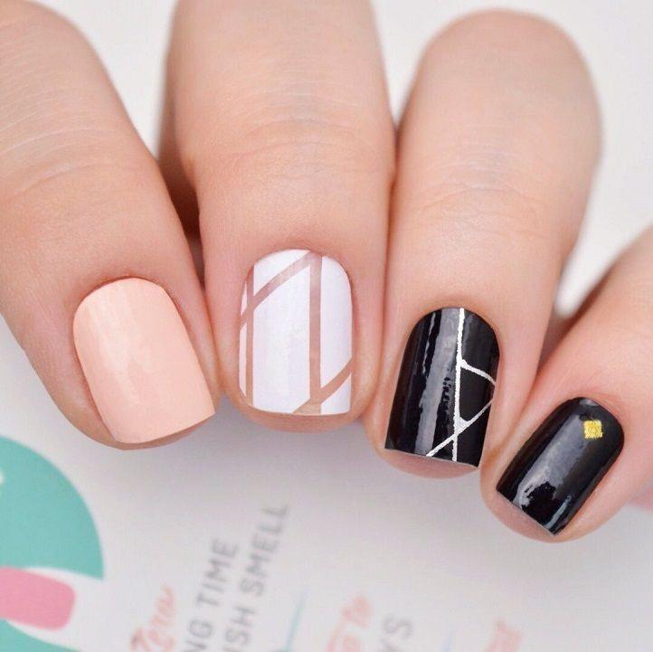 14 Geometric Nail Art Design ideas to try,triangle nail art, geometric nail designs,modern nail art,prom nail art design #promnail #nailartdesign #geometric