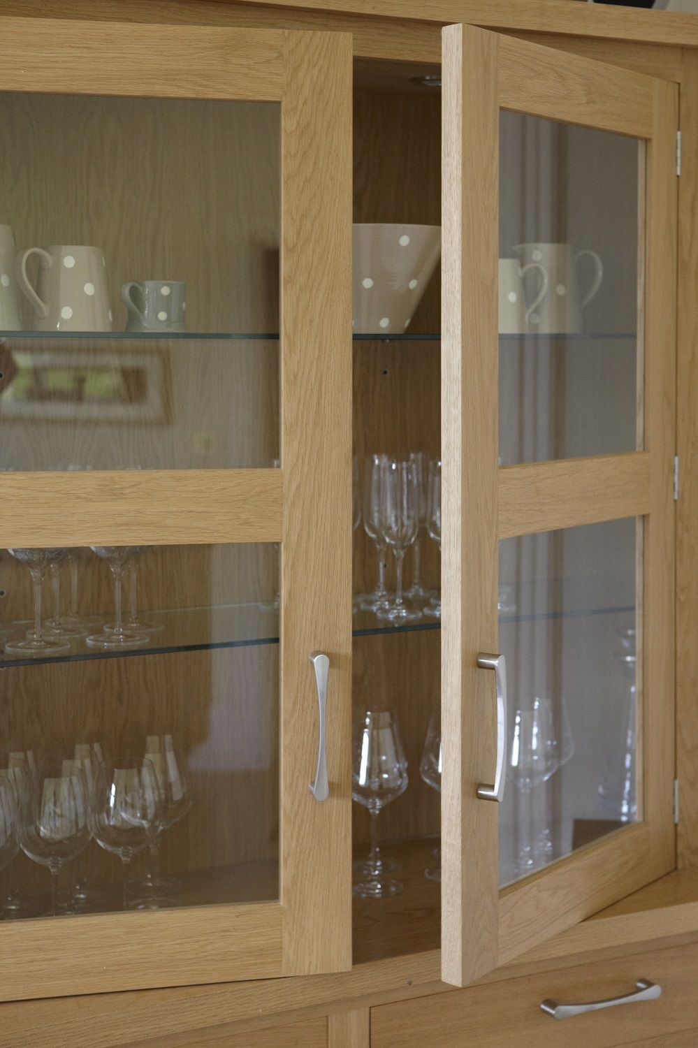 Glass Kitchen Cupboard Units Reveal Glass Shelving For Displaying Glassware And Crockery