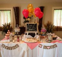 Pink and gold bridal shower dessert table. Brunch and ...