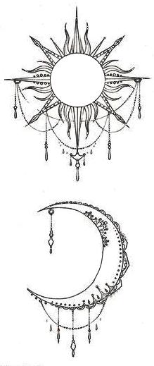 Moon and sun tattos