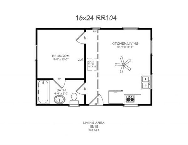 Log Cabin Floor Plans with Loft and Kitchen Living Room