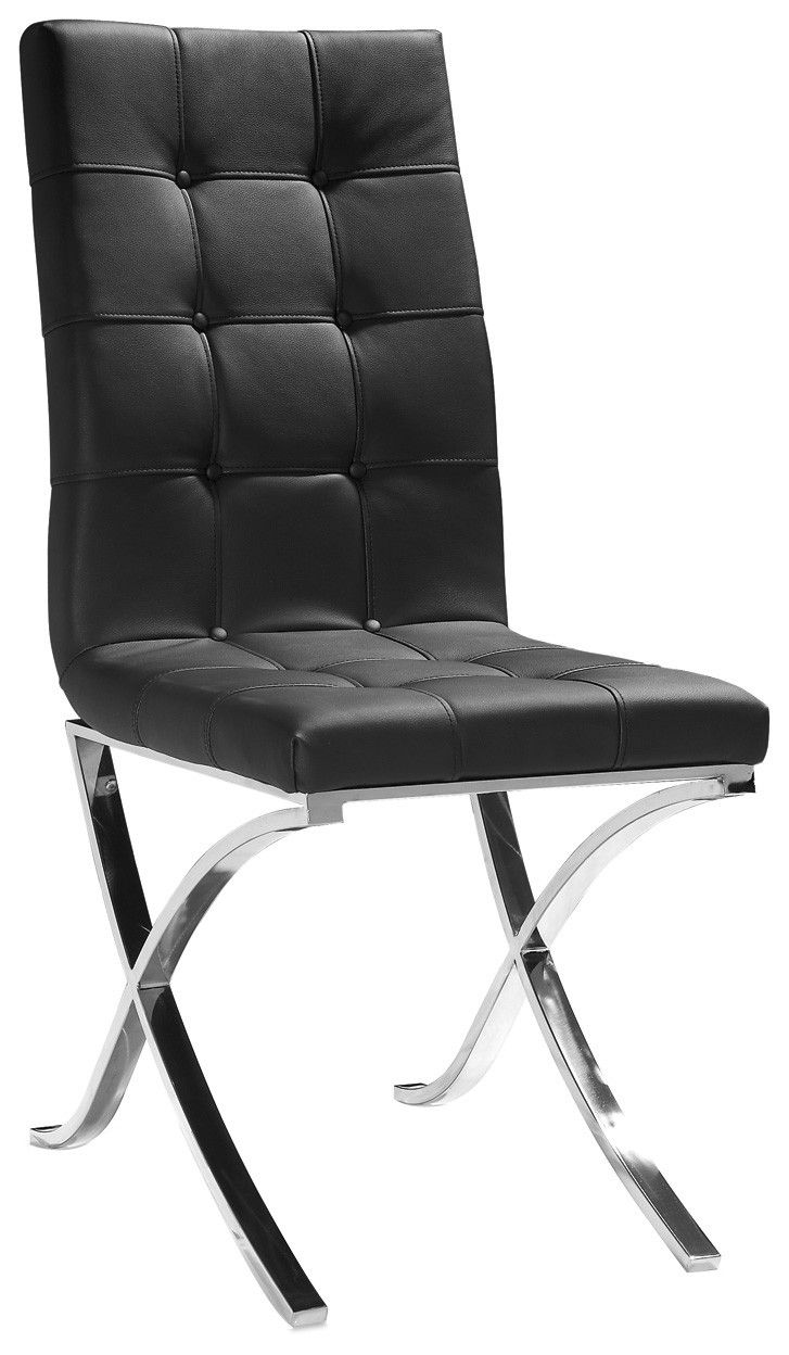 Modern Black Leather Tufted Dining Chair  Black leather