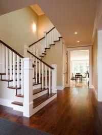Wooden Stair Railings Design- love this, dark wood step ...