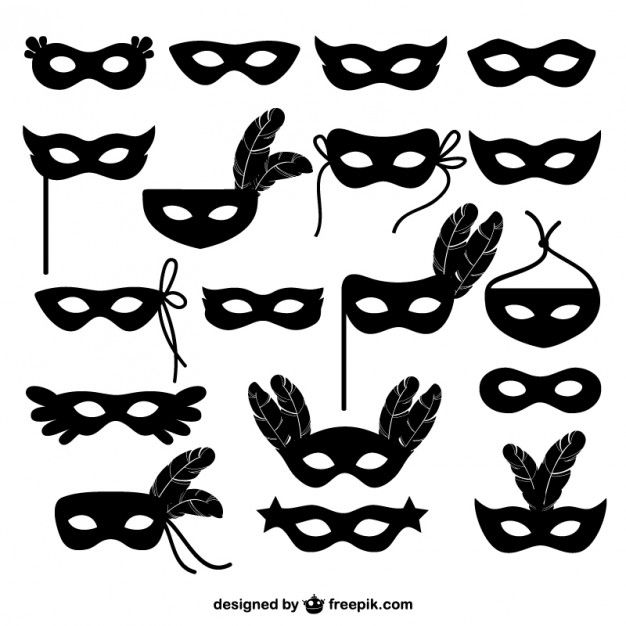 Colección de iconos de máscara de carnaval Vector Gratis