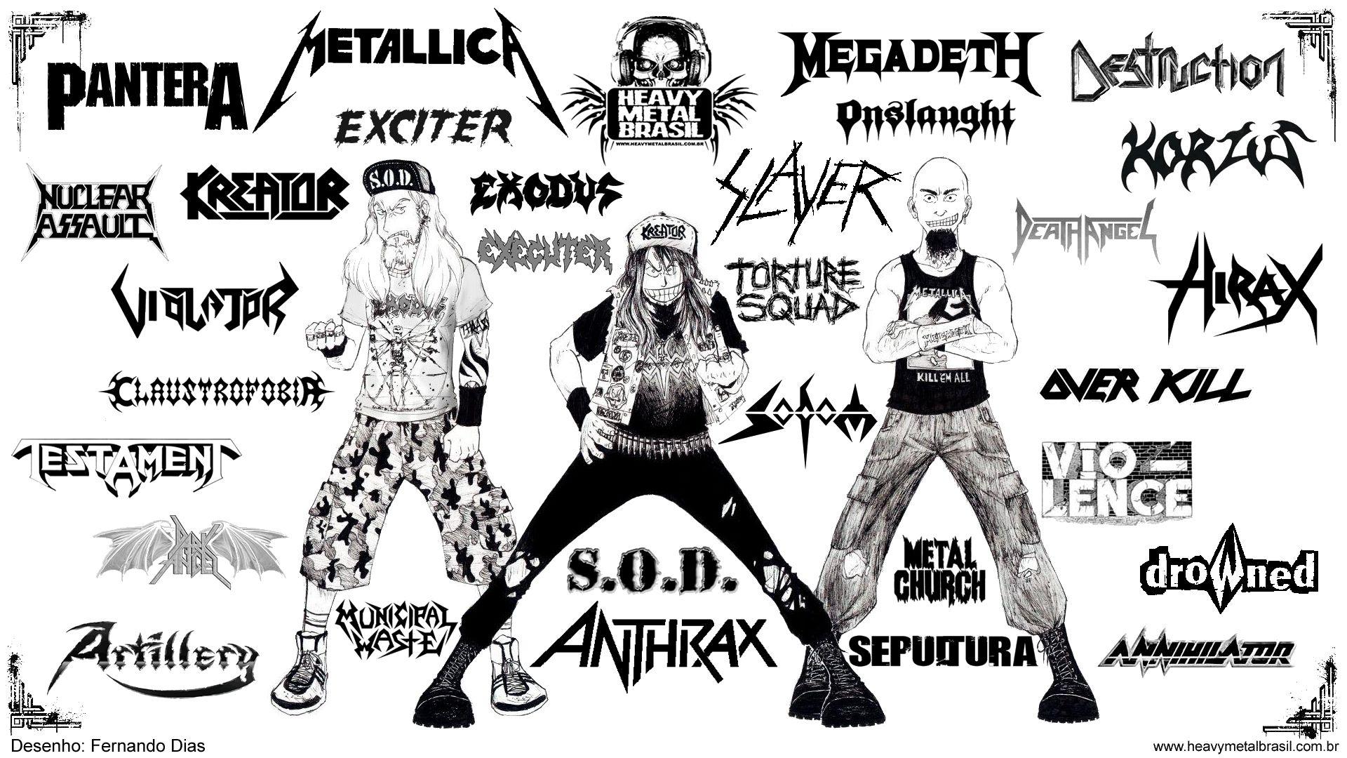 80 S Rock Band Logo Collage