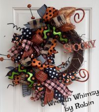 """Halloween Grapevine Deco Mesh Ribbon Wreath with """"Spooky ..."""