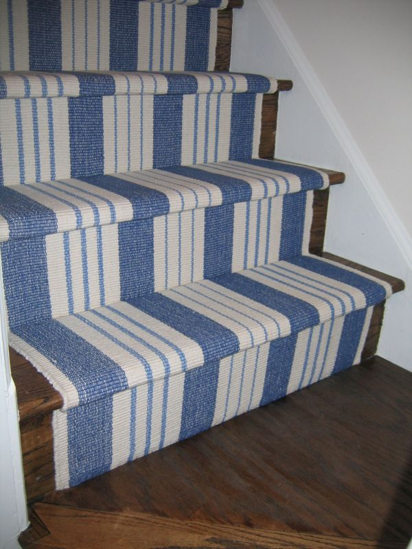White and Blue Striped Stair Runner