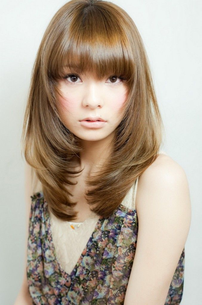 korean haircut for long hair with side bangs  Google