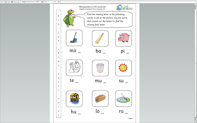 Missing Letters Cvc Words 2