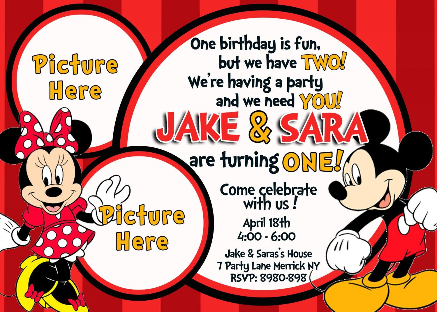 Minnie And Mickey Mouse Birthday Invitations Invitation