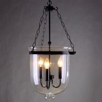 Retro Rustic Clear Glass Bell Jar Pendant Light with 3 ...