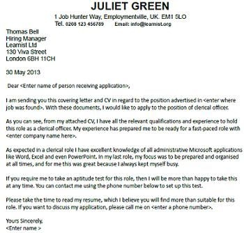 Cover Letter For A Clerical Officer Job Seekers Forums Job