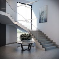 Modern L-shaped Staircase with Glass Railing and Gray ...