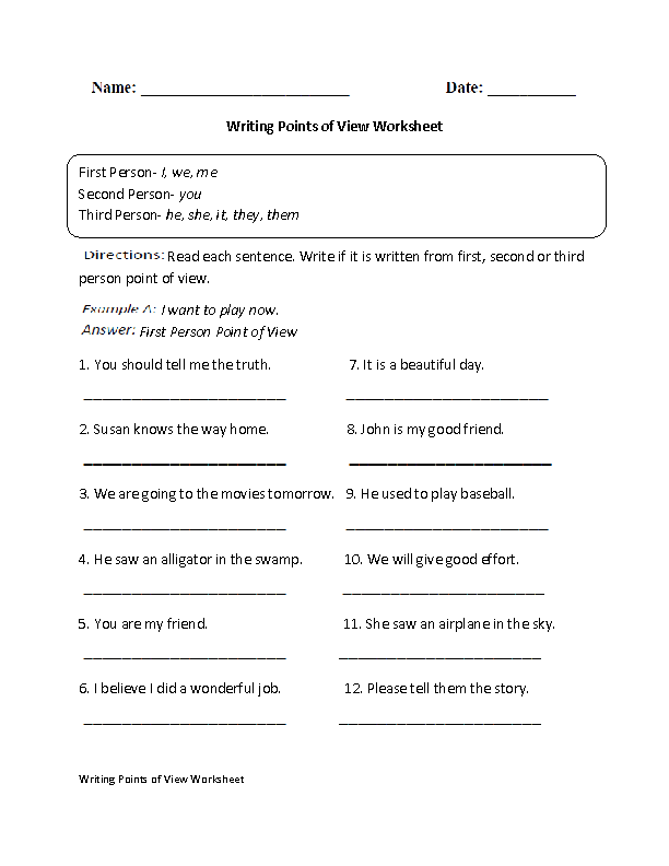 Writing Point of View Worksheet