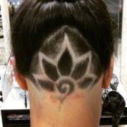 flower design hair tattoo