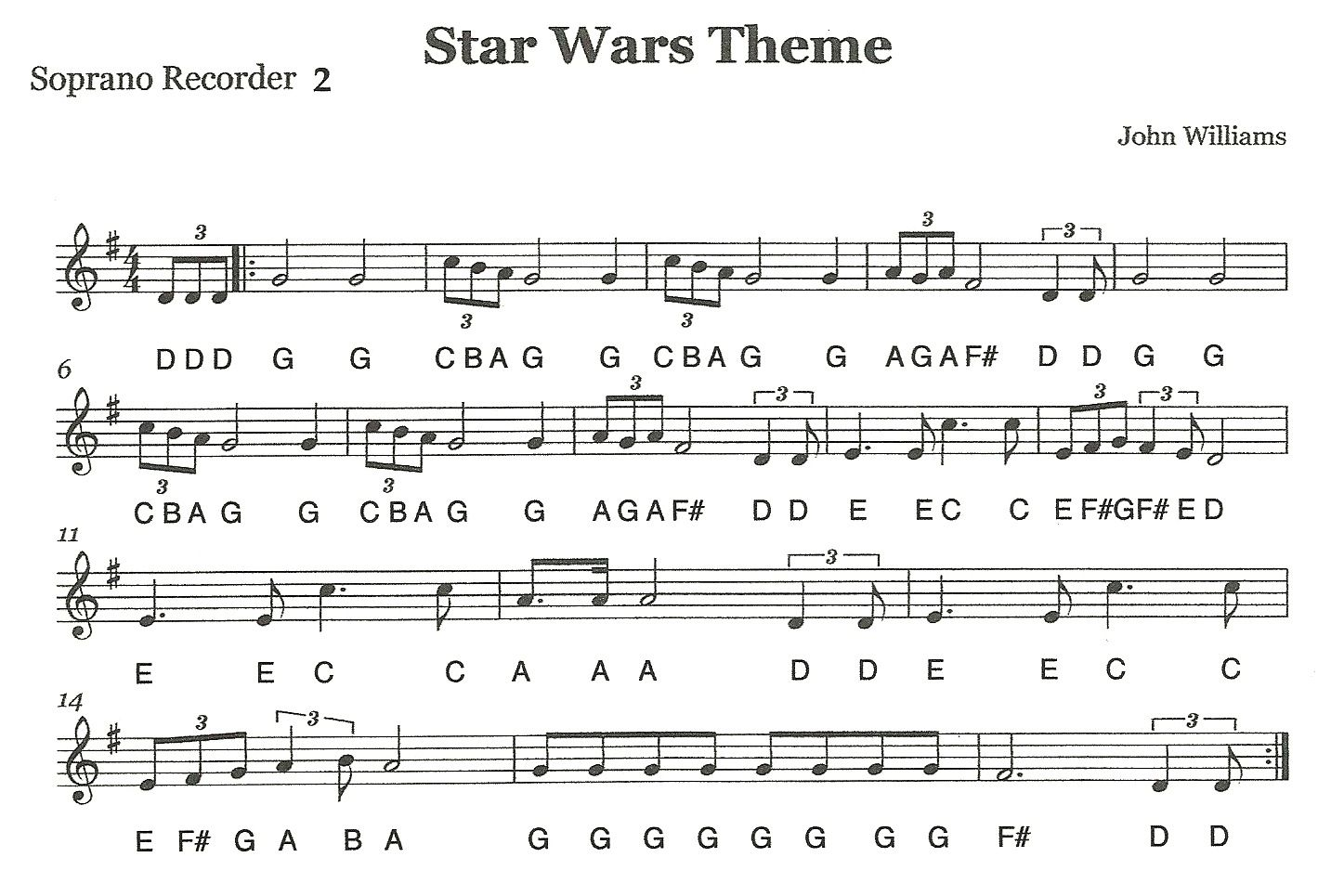 Free Star Wars Theme Song Sheet Music For Recorder