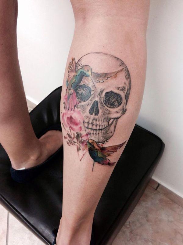 watercolor skull tattoos cassio